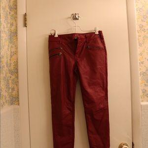 Free People Vegan Maroon Leather pants
